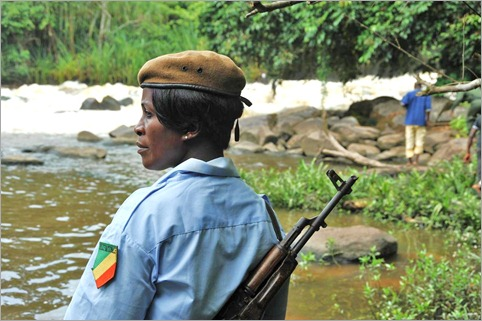 11a. Police woman - part of our security for the day, even on a 5km walk through jungle to a waterfall