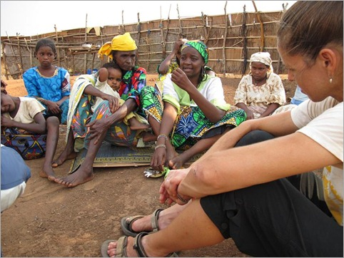 2a. Hanatou interprets discussion with  Mbororo refugees from Central African Republic